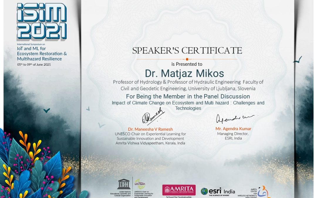 Active participation at the International Symposium on IoT and ML for Ecosystem Restoration and Multi-Hazard Resilience (ISIM 2021).